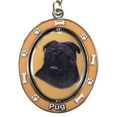 Pug Black Dog Spinning Keychain