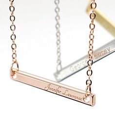 A Your Name Bar Necklace Engraving 16K Gold Silver Rose Gold -Plated Dainty Computer Diamond Engraving Personalized Delicate Necklace Bridesmaid Gift ** Continue to the product at the image link.