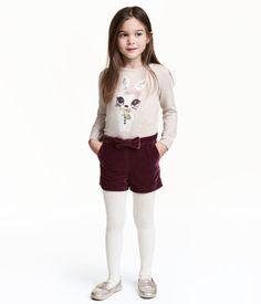 Glittery Velvet Shorts   Dark plum   Kids   H&M US