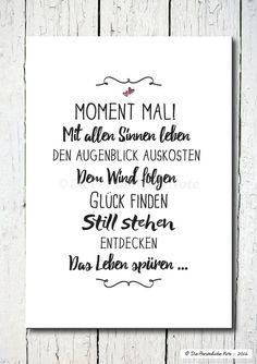 Kunstdruck bei DaWanda:  Die kleine Anleitung für's gute Leben: Einfach mal einen Moment innehalten - und genießen!