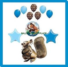 Ice Age Balloons Birthday Party Supplies Decorations Continetal Drift Scrat New | eBay