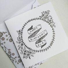 Very #simple #birthday #card i made for my sister in law ...:) #birthdaycard #happybirthday #happymail inspired by @surelysimpleblog #flowerwreath #blackandwhite #sketch #mysurelysimple ;)