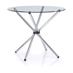 GT Clear Glass Round Table With Twisted Frame More