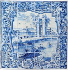 My inspiration this week! Tile Murals, Tile Art, Mosaic Tiles, Wall Art Designs, Design Art, Cafe Design, Portugal, Portuguese Tiles, Antique Tiles