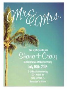 Tropical Palm Tree Beach Wedding Invitation | Custom Save The Date Invitations | Custom Wedding Invitations | theMRSingLink