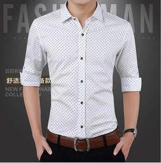 Men's Shirts 2017 New Autumn Fashion Brand Men Clothes Slim Fit Men Long Sleeve Shirt Men Polka Dot Casual Men Shirt Social Plus Size Formal Shirts, Casual Shirts For Men, Men Casual, Men Shirts, Smart Casual, Costume Iron Man, New Fashion Shirts, Business Dress, Business Casual