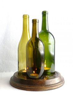 Bastelideen für DIY Projekte aus Weinflaschen kerzen