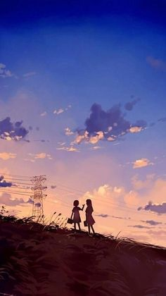 "Anime girl ""Do you somehow remember how we looked up at the atmosphere And how we sat and watched it slowly fade away? Wallpaper Animes, Anime Scenery Wallpaper, Animes Wallpapers, Fantasy Landscape, Landscape Art, Fantasy Art, Art Anime, Manga Art, Aesthetic Art"