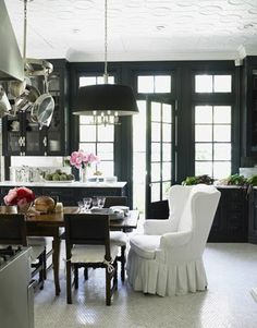 Love this! Chair-- black trim-- all! Windsor Smith, blue lacquer kitchen from House Beautiful