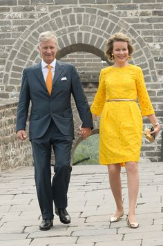 Queen Mathilde and King Philippe of Belgium visited the Great Wall of China in Badaling on June 23, 2015.