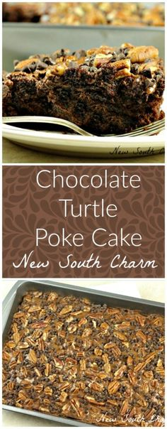 Chocolate Turtle Poke Cake - New South Charm #CupcakeBirthdayCake Poke Cake Recipes, Poke Cakes, Dessert Recipes, Turtle Poke Cake Recipe, Bundt Cakes, Cupcake Recipes, Dessert Ideas, Cake Ideas, 13 Desserts