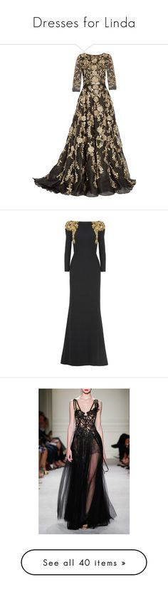 """""""Dresses for Linda"""" by valerimiller ❤ liked on Polyvore featuring dresses, gowns, long dress, marchesa, floral gown, floral dresses, long brown dress, brown evening gowns, brown dress and vestidos"""