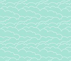 skyline clouds - mint fabric by ravynka on Spoonflower - custom fabric