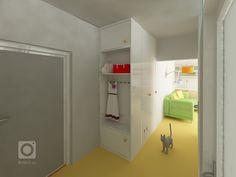 Změna dispozice bytu z 2+1 na 3KK    Koncepce:  - zvětšení prostoru předsíně a jeho prosvětlení přes koupelnu  - zvětšení koupelny  - pracovna/pokoj pro hosty  … Atelier