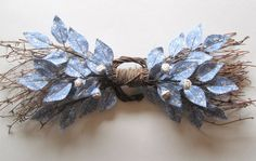 Fabric Leaf and Flower Swag - Cornflower Blue Floral Spring Wall Hanging Wreath via Etsy