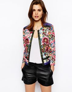 Enlarge ASOS Jacket With Statement Floral Embroidery