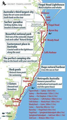Australia& east coast from Sydney to Brisbane - secret-travel.guide - Australia map from Sydney to Brisbane - Gold Coast Australia, Australia Map, Visit Australia, Queensland Australia, Victoria Australia, Australia Honeymoon, Western Australia, Airlie Beach, Brisbane Australie