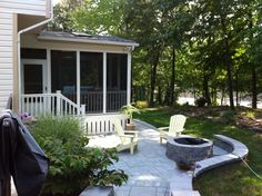 MD- Patio with fire pit and wall