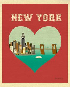 New York City Skyline Print, New York City Heart Print,  New York Nursery, nyc wall art heart, Loose Petals  City Art Print style E8-O-NY6