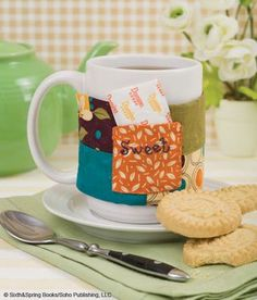 """Warm and Sweet Mug Cozy {and giveaway!!}: @Fiona I Like Gooseberries patch: """"Keep hot tea and sugar at hand with this fun mug sleeve. Use it at your favorite coffee shop with disposable cups or at home with a mug of your favorite blend."""""""