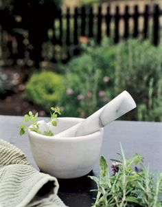 If you're preparing a basil, mint, or cilantro pesto or want to make an herbal rub for grilling, a mortar and pestle is the easiest way to quickly crush the herbs and make an aromatic paste. To find a mortar and pestle in your price range, visit cooking.com.