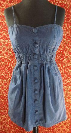TWENTY ONE blue denim chambray spaghetti strap mini jumper dress M (T0402G5G) #TwentyOne #Sundress #SummerBeach