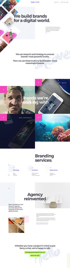 Gorgeous spacious design in this parallax scrolling One Page portfolio for 'Type + Pixel'. Great reference to providing additional content in a slick overlay (to help declutter your Landing Page's message) via the Principles link further down.