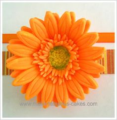gum paste gerbera tutorial - note, unlike the Wilton method, cut the two middle flower petals into pieces for a fringed effect.