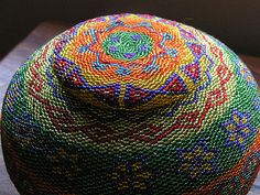 ⋴⍕ Boho Decor Bliss ⍕⋼ bright gypsy color & hippie bohemian mixed pattern home decorating ideas - Beaded basket from Bali.