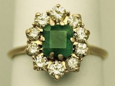 Vintage French 0.88 ct Emerald  0.84 ct Diamond, 18 ct Yellow Gold Cluster Ring (France)