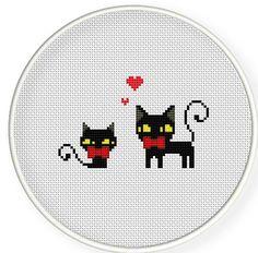 Buy 4 get 1 free ,Buy 6 get 2 free,Cross stitch pattern, PDF,Black cats in love ,zxxc0209. $4.00, via Etsy.