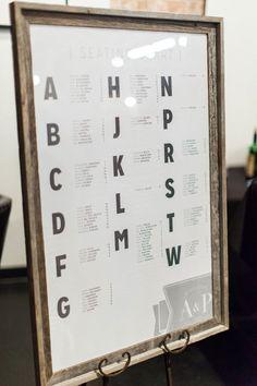 modern seating chart organized by last initial MyWedding.com