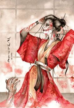 Print Kuchisake-onna - Slit-Mouthed Woman a figure appearing in Japanese urban legends. Kuchisake Onna, Geisha Kunst, Geisha Art, Japanese Horror, Japanese Art, Arte Horror, Horror Art, Fantasy Kunst, Fantasy Art