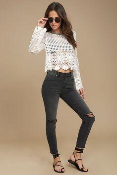 #AdoreWe #Lulus Womens❤️Designer Amuse Society Amuse Society Iconic Washed Black Distressed Skinny Jeans - AdoreWe.com