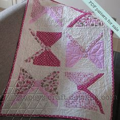 Bows Quilt lovely pink baby girl quilt PDF pattern by Stacey's Craft Designs [2]