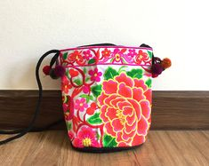 Items similar to Beautiful Unique Ethnic Women's Hmong Flower Crossbody Bag Hill Tribe Embroidered. on Etsy Pink Dye, Ethnic Bag, Active, Swirl Pattern, Vintage Fabrics, Embroidered Flowers, Vintage Leather, How To Draw Hands, Hand Weaving