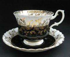 Vintage Royal Albert Regal China Teacup & Saucer - Gilt Filigree Potbelly Cup & Saucer - Raven Midnight Witch Black ~