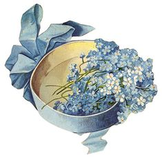 """blue ribbon, box, and forget-me-nots ~ Victorian scrap art is just another """"Favorte Thing...."""