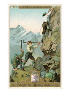 Mountain Climbing Expedition, German Alps Sports Art Print - 46 x 61 cm Mountain Climbing Gear, Rock Climbing, Climbing Wall, Spieth Und Wensky, Sports Art, Sports Posters, Norman Rockwell, Worlds Of Fun, Alps