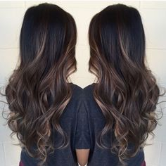 Brunette and Blonde Balayage/ Fall Hair Color / Long Hair / Dark Hair with Highlights Hair Color Highlights, Hair Color Balayage, Black Hair With Brown Highlights, Dark Hair With Balayage, Haircolor, Dark Ombre Hair, Black Ombre, Blonde Ombre, Brown Hair Colors