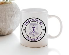 Sammy Seal Mug - Uptown Greek Sigma Alpha Mu, Wooden Greek Letters, Ceramic Mugs, Drinkware, Microwave, Dishwasher, Seal, Ceramics, Tableware