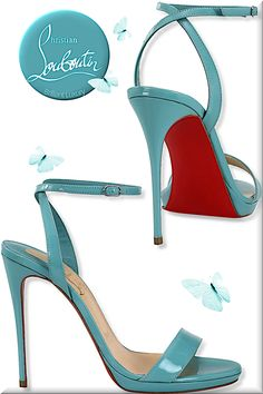 Christian Louboutin noumea blue Loubi Queen patent leather sandals #shoes #christianlouboutin #louboutinworld #brilliantluxury
