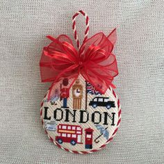 London Travel Round finished off with bow ~ Canvas by Kirk&Bradley