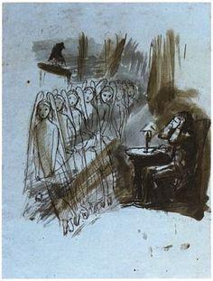 Dante Gabriel Rossetti, 'Angel Footfalls', illustration of 'The Raven' by Edgar Allan Poe, 1846