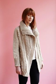 This wonderfully thick and warm over-sized cardigan features all-over bobbles in an attractive diagonal formation. The cardigan is seamlessly knitted top-down. Knitted with the warmest and thickest Jamieson's of Shetland Marl, this is a perfect distinctive and versatile cardigan to keep you cosy during the cold weather. Model wears size 8-10/32-34in Note on yarn quantities: Jamieson's of Shetland Marl (Chunky weight; 100% pure Shetland wool; 120m [131yds] per 100g ball) Garment only: 10…