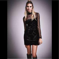 Free People Black Velvet Burnout Bodycon Dress New