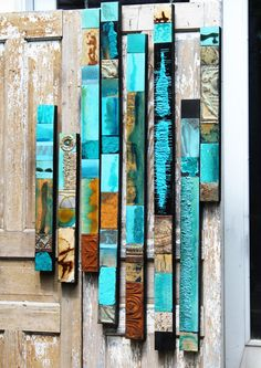 Stunning Out West Blue-Green Glazed Wood Collage от TinExpressions
