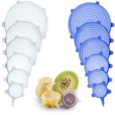EcoInnova™ Silicone Reusable Lids (6 pcs./set) – ECOINNOVA Tapas, Pot Lids, Plastic Wrap, Candy Jars, Reusable Bags, Zero Waste, Safe Food, Biodegradable Products, Kitchen Stuff
