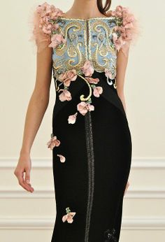 ❥ black and blue dress with pink flowers~ exquisite