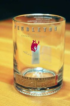 Made from original Pendleton Whisky bottles, custom cut and designed as a unique drinking glass.